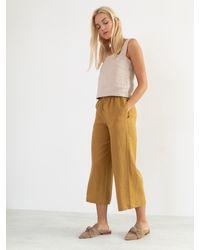 Etsy Pantalon Riley Linen Pour s/Pantalon Large En Linge De Jambe Miel Jaune Palazz - Multicolore