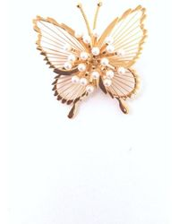 Etsy Monet Gold Tone Butterfly Brooch With Faux Pearl Encrusted Wings - Metallic
