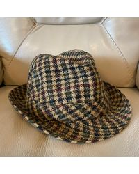 Etsy Vintage Fedora Hat Trilby Tweed Retro Check - Red