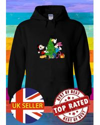 Etsy Mickey & Minnie Mouse Decorating A Christmas Tree Hoodie Sweatshirt Jumper Pullover Ladies 4684 - Black