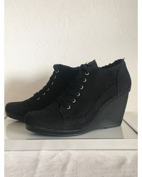 Etsy Y's Yohji Yamamoto Plate-Forme Wedge Laced Canvas Booties - Noir