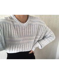 Etsy Vintage Pale Blue White Contrast Striped Cotton Blend Knit Jumper/ Pullover/ Sweatshirt/ Sweater/ Top/ S - Bleu