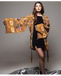 Etsy Vintage Floral Print Kimono/vintage Belted Kimono/comfy Cotton Robe/oriental Kimono Robe/kimono Cardigan/dressing Gown/gift - Multicolour