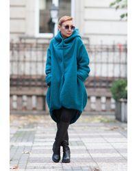 Etsy Manteau Pour s/ Manteau 100% Laine/ À Capuchon/ D'hiver/ Extravagant/ - Bleu