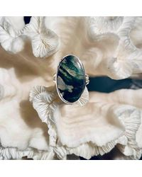 Etsy Beautiful Green Moss Agate Ring Size 7