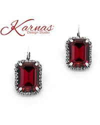 Etsy - Roses Are Red Emerald Cut Halo 13x18mm Drop Earrings Genuine Crystal Antique Silver Karnas Design Studiotm Free Shipping - Lyst