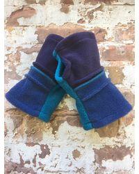Etsy Hedkase Deep Plum Blue & Turquoise Fleece Hand-warmers Keypad Mitts Fingerless Gloves Handmade In U