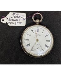 Etsy Vintage 1898 Whitman Sterling Silver Pocket Watch - Metallic
