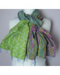 Etsy Kantha Stitch Reversible Silk Scarf/wrap - Green