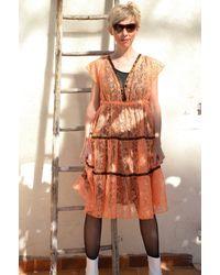 Etsy Dentelle Tangerine Robe Transparente Vintage 90S Rubans Satin /M/L/ - Marron