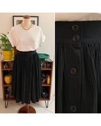 Etsy Jupe Vintage Longue Midi Boutonnée Crepe Coton Noire Élégante Casual Chic Années 80 90