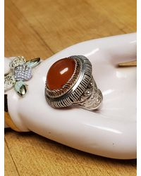 Etsy Size 5 Pure 980 Silver Sterling Chinese Export Genuine Natural Carnelian Antique Art Deco Nouveau Pebbled Detailed High Set Ring - Metallic
