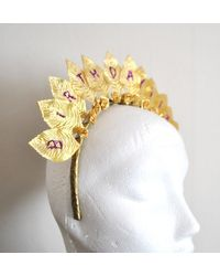 Etsy Gold Headband Flower Crown Tudor Style Toga Gold Leaves Or Colour Personalize - Metallic