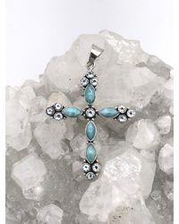 Etsy Larimar & Blue Topaz Cross Pendant