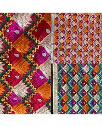 Etsy Phulkari Bagh Dupatta Fulkari Duppatta Punjabi Weddings Shawl Colourful Embroidery Complements Outfit - Green