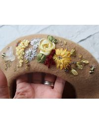 Etsy Winter Beret In French Floral Style - Metallic