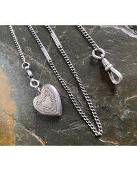 Etsy Antique Fancy Link Sterling Silver Locket Watch Chain Necklace - Metallic