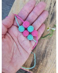 Etsy Read The Announcement Bead Woven Necklace Handmade May Spring Refreshment Gift For - Green