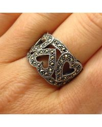 Etsy 925 Sterling Silver Real Marcasite Gem Triple Heart Design Wide Ring Size 8 1/4 - Metallic