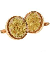 Etsy Encapsulated Gold Leaf Rose Metal Cufflinks In Personalised Cufflink Box - Metallic