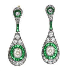 Etsy Deco Old Cushion Diamond Emerald Dangle Earrings - Green