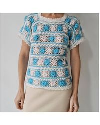 Etsy Vintage Crocheté Fleur Seventies Hippie Tricoté Haut S - Bleu