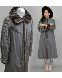 Etsy Vintage Russe Squirrel Lining Sibirches Feh Leather Leaf Art Déco Brodé Cisart Boxe Trench Coat Chinchilla-style Parka A... - Multicolore
