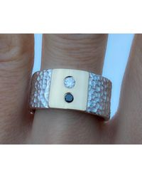 Etsy - Black & White Diamond Ring /sterling Silver & 14k Gold Ring/ Natural Diamonds /wide Band Ring/gift - Lyst