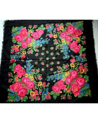 "Etsy Russian Scarf Shawl Black With Pink Roses Wool 33"" Inches From Russia Soviet Union Ussr"