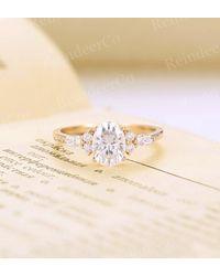 Etsy Oval C&c Moissanite Engagement Ring - Yellow
