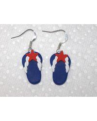 Etsy Patriotic Flip Flops - Blue
