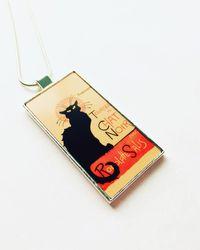Etsy Le Chat Noir Pendant Art Nouveau - Black