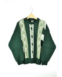 Etsy Vintage Green Sweater Winter 80S Patterned 70S Striped Knit Pull Boho Hippie Grunge Large L - Blanc