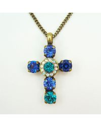 Etsy Blue Green Cross Necklace Royal Teal Pendant 7mm Genuine Swarovski Crystals Rhinestones