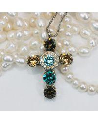 Etsy Aqua Brown Swarovski Cross Necklace Teal Champagne Crystal Pendant Golden Shadow 7mm Rhinestones
