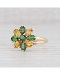 Etsy 3ctw Green Yellow Tourmaline Flower Ring 14k Gold Size 8