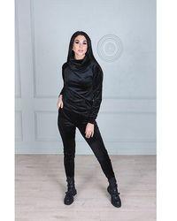 Etsy Sweat-Shirt Noir De Cou Capot Velours Avec La Poche Avant Et Le Pantalon Skinny Joggeur Assortissant Survêtement En Des s - Blanc