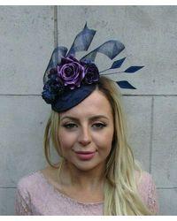Etsy Navy Blue Dark Purple Flower Feather Pillbox Hat Fascinator Races Wedding 8026