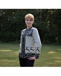Etsy Cardigan En Laine Pour s Avec Motif De Renne Jacquard Nordic Icelandic Fair Isle Pull Black & White Sur Les Fermoirs Norvégiens - Blanc