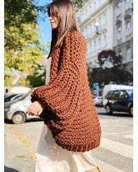 Etsy Brown Maxi Coat Oversized Sweater Beige Chunky Knit Crochet Cardigan Mohair Gray Kimon - Blanc