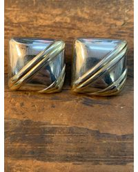 Etsy 80s Large Square Dome Earrings Studs Sterling Silver & Gold Signed Hana Italy - Metallic