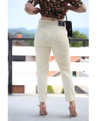 Etsy 90S Vintage Versace Jeans Couture High Waist Cropped Leg Minimal Trousers Pantalon Mom Jeans Tapered in Cream Col - Multicolore