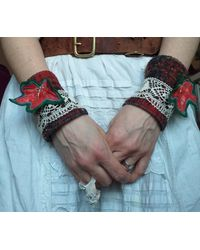 Etsy Wrist Warmers Cuffs Wool Handmade Ooak Whimsical Faerie Upcycled - Blue