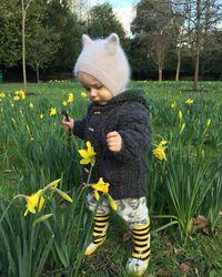 Etsy Hand Knitted Angora Kitten Bonnet - Grey