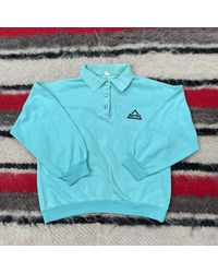 Etsy Vintage 1970s 1980s Turquoise Blue Sprint Long Sleeve Polo Top Jumpe