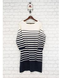 Etsy Jean Paul Gaultier Pour Lindex Striped Jumper Dress Sweater Tunic Long Pullover Navy/White Cotton Viscose Wool Blend - Bleu