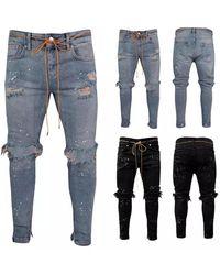 Etsy Jeans Skinny Déchiré Pour Zip Cheville - Blanc