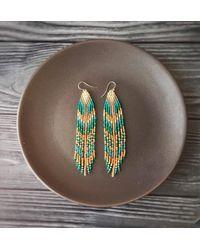 Etsy Beaded Dangle Earrings - Blue