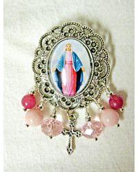 Etsy Miraculous Medal Brooch - Pink
