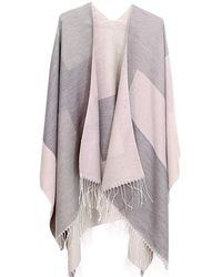 Etsy Soft Pastel Pink & Grey Poncho Shawl Cardigan Blanket Wrap Checked Jumper Clothes